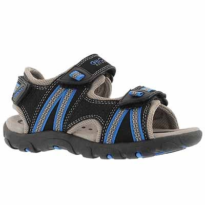 Geox Boys' STRADA black/royal blue sport sandals