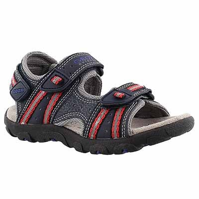 Geox Boys' STRADA navy/red sport sandals