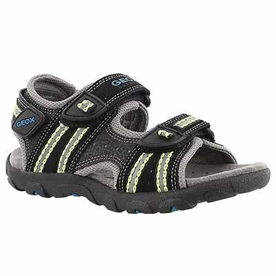 Geox Boys' STRADA black/lime sport sandals