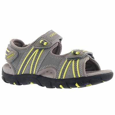 Geox Boys' STRADA grey/lime green sport sandals