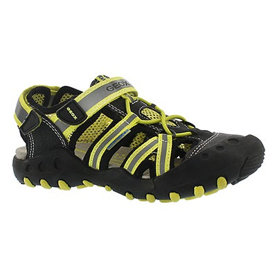 Geox Boys' KYLE black/lime fisherman sandals