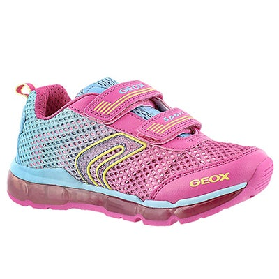 Geox Girls' ANDROID fushsia/sky 2 strap runners