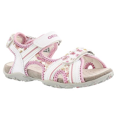 Geox Girls' ROXANNE white/pink sport sandals