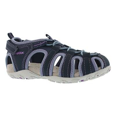 Grls Roxanne navy closed toe sandal