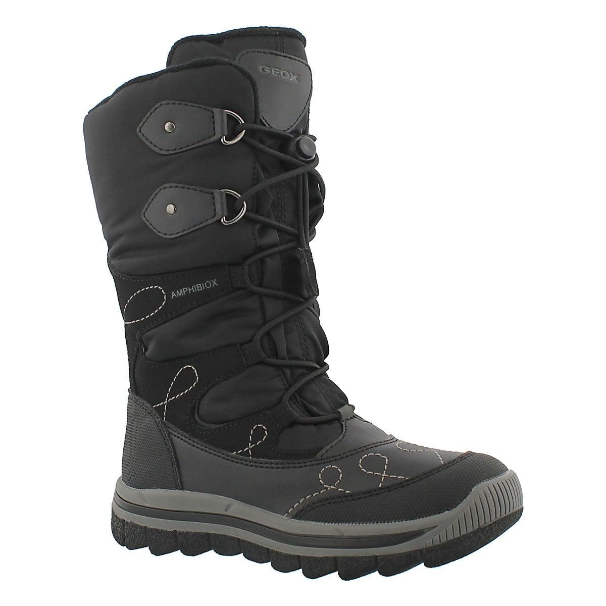 Girls Overland black lined winter boot