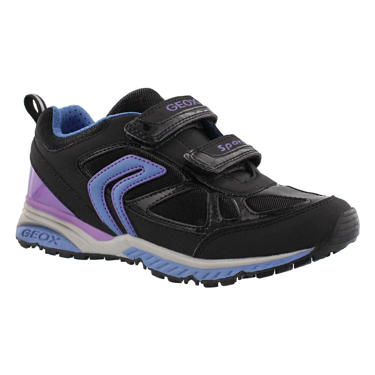 Grls Bernie blk/turq 2-strap sneaker