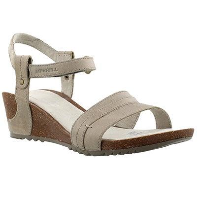 Merrell Women's REVALLI AURA STRAP grey wedge sandals