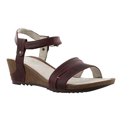 Merrell Women's REVALLI AURA STRAP  purple wedge sandals