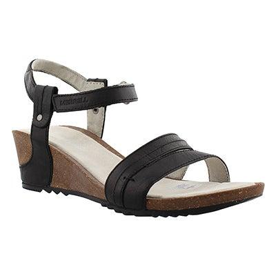 Merrell Women's REVALLI AURA STRAP black wedge sandals