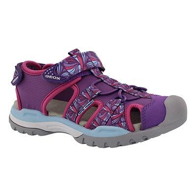 Grls Borealis purple fisherman sandal