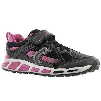 Geox Girls' SHUTTLE black/fuchsia running shoes