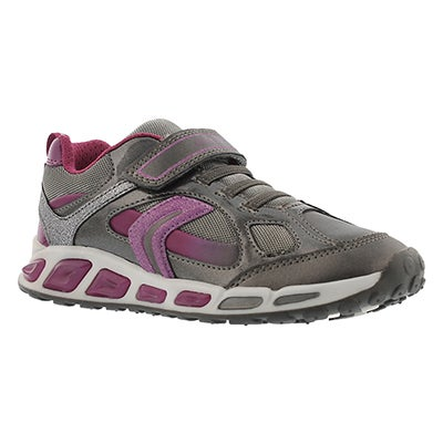 Geox Girls' SHUTTLE silver/purple running shoes