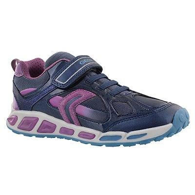Geox Girls' SHUTTLE navy/lilac running shoes