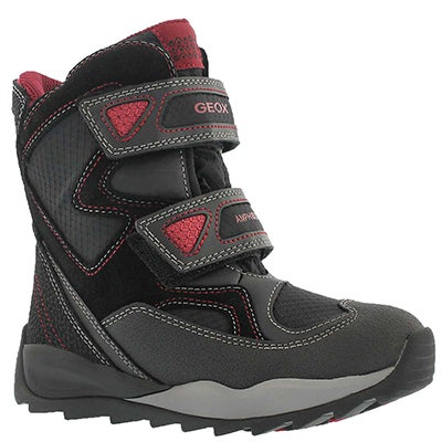 Geox Boys' ORIZONT ABX blk/red waterproof winter boots