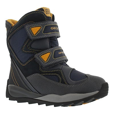 Geox Boys' ORIZONT ABX nvy/yllw waterproof winter boots