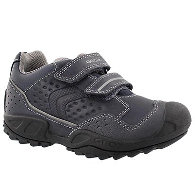 Geox Boys' NEW SAVAGE nvy/gry 2 strap sneakers