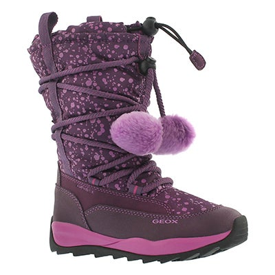 Geox Girls' ORIZONT B ABX dk ppl waterproof snow boots