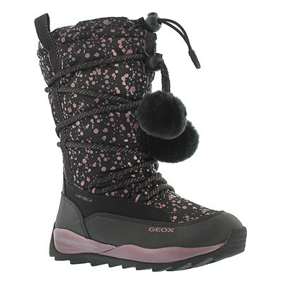 Geox Girls' ORIZONT B ABX black waterproof snow boots