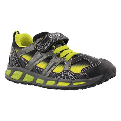 Geox Boys' SHUTTLE BOY black/lime sneakers