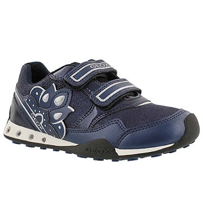 Geox Girls' NEW JOCKER navy 2-strap sneakers