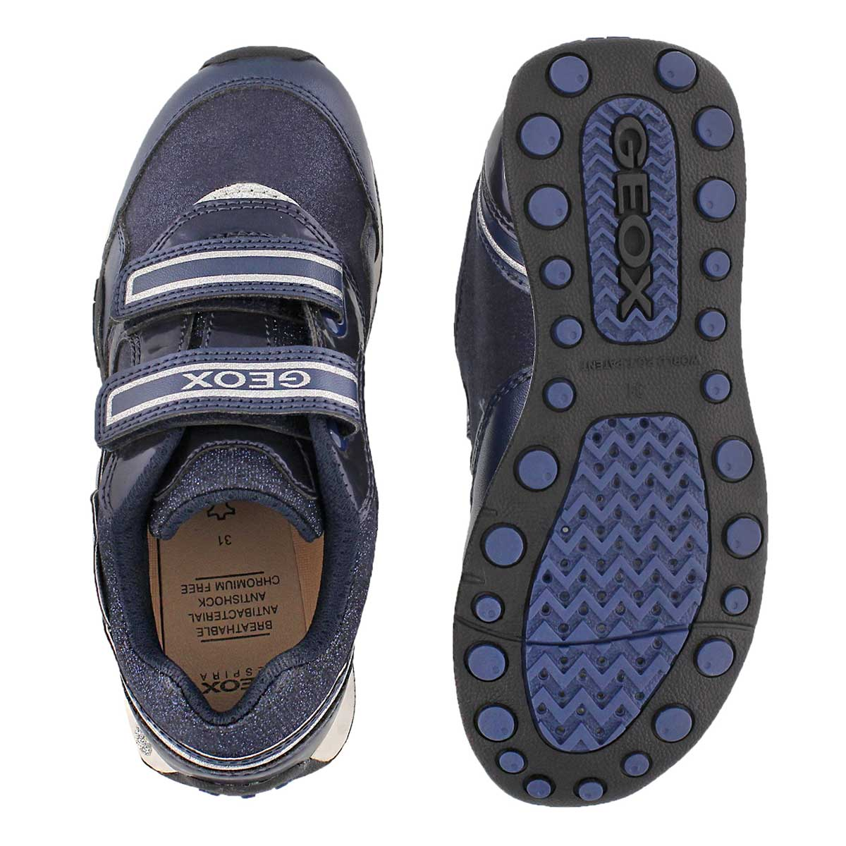 Grls New Jocker navy 2-strap sneaker