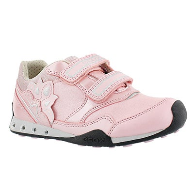 Geox Girls' NEW JOCKER pink 2-strap sneakers