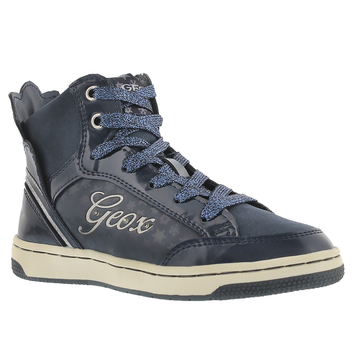Grls Creamy navy high top sneaker