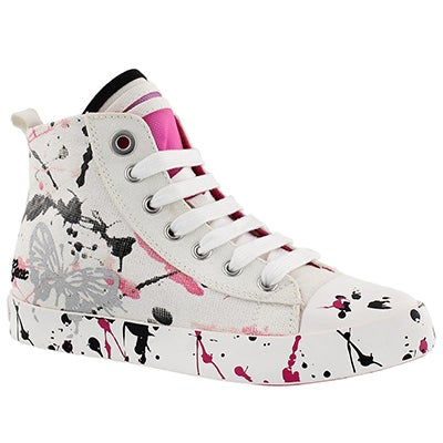 Grls Ciak wht/fuchsia high top sneaker