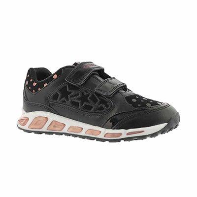 Grls Shuttle black 2 strap sneaker