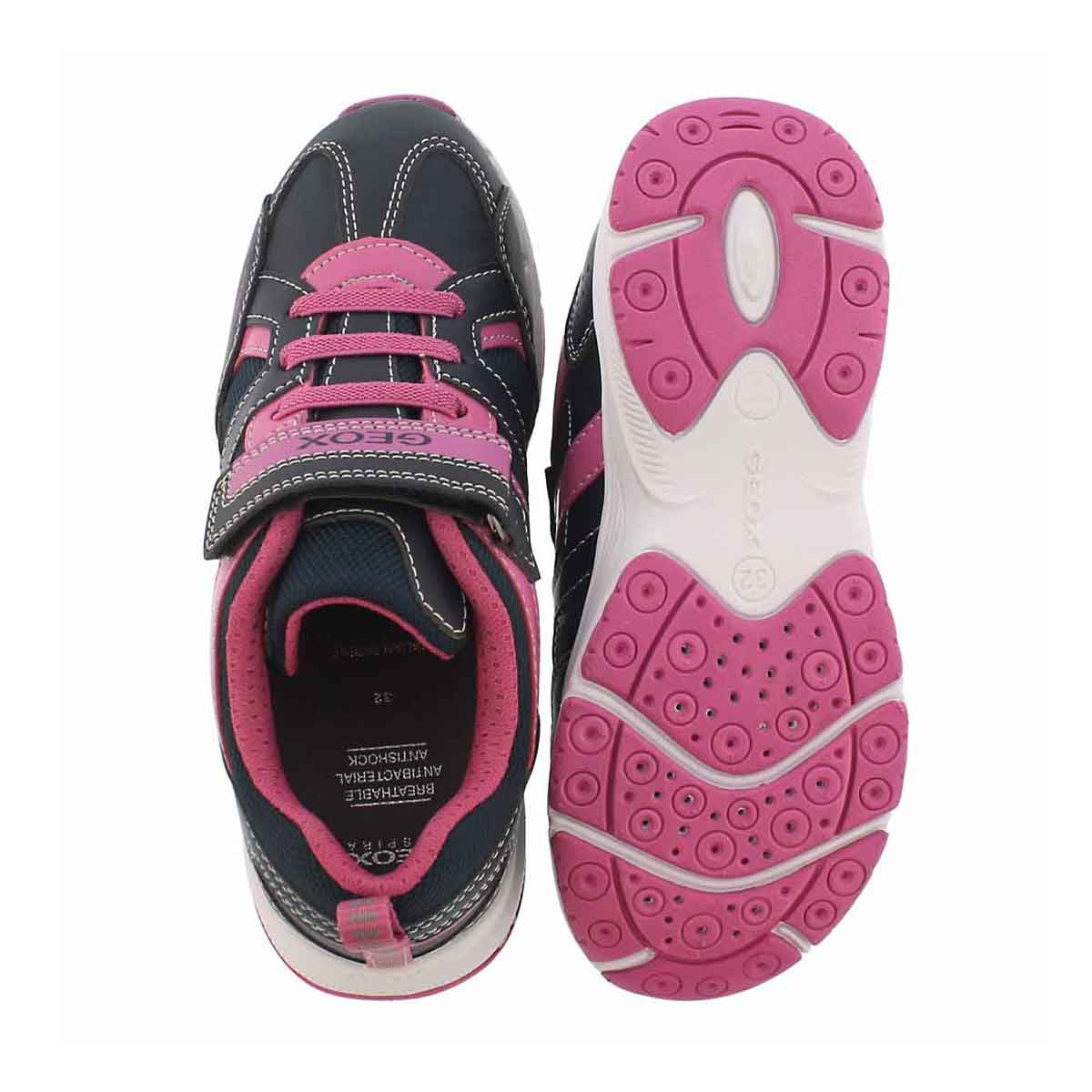 Grls Top Fly navy/fuchsia running shoe