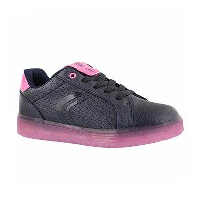 Grls Kommodor nvy/fuchs lace up sneaker