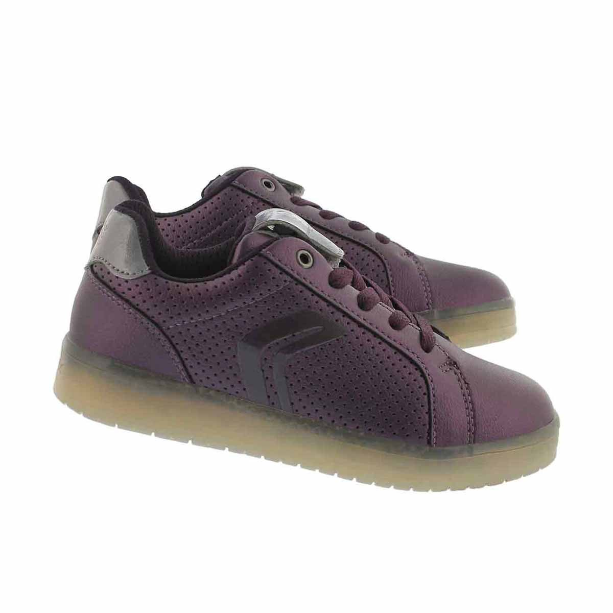 Grls Kommodor prune/slvr lace up sneaker