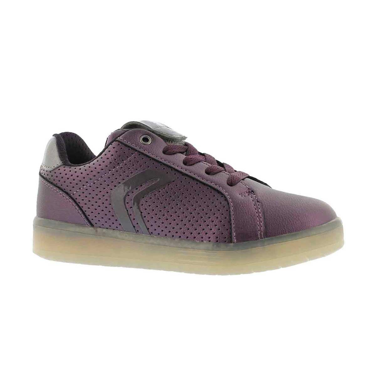 Girls' KOMMODOR prune/silver lace up sneaker