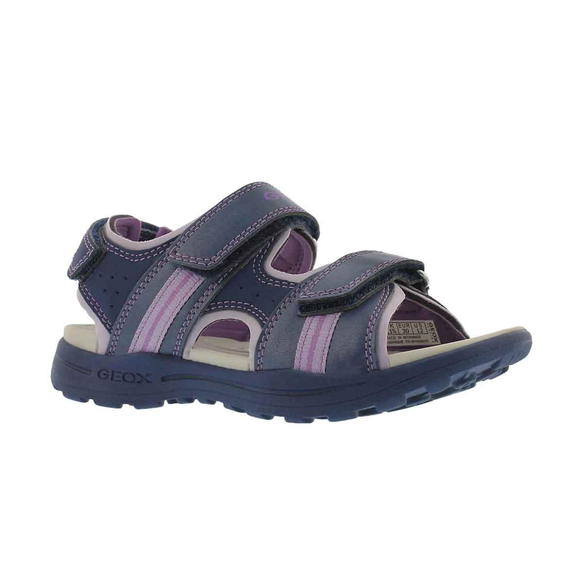 Girls' VANIETT navy/lilac casual sandals