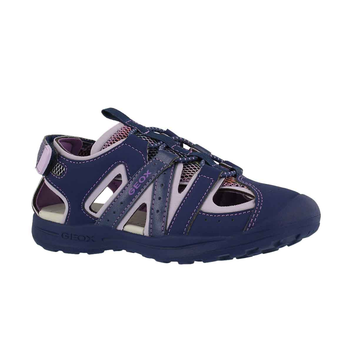 Girls' VANIETT navy/lilac fisherman sandals