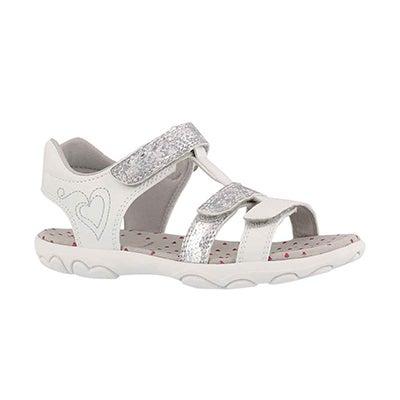 Grls Jr Cuore wht/lt grey casual sandal