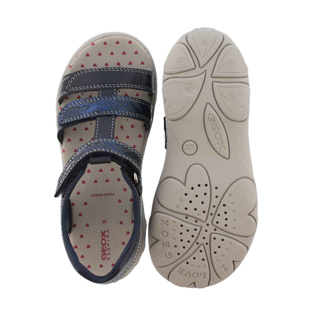 Grls Jr Cuore navy casual sandal