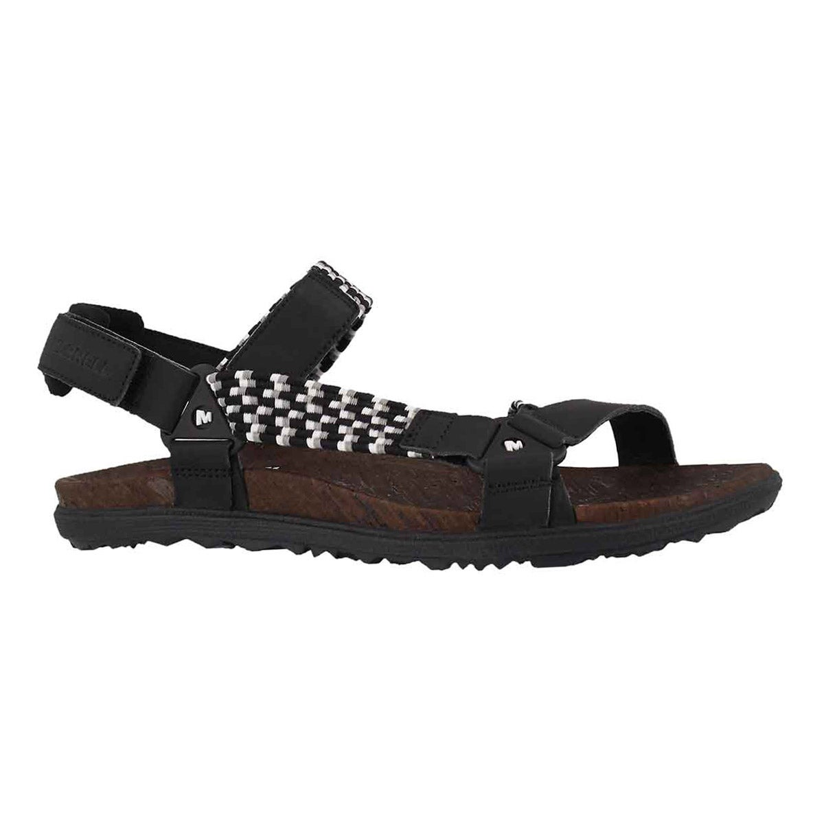 Lds Around Town Sunvue Woven blk sandal