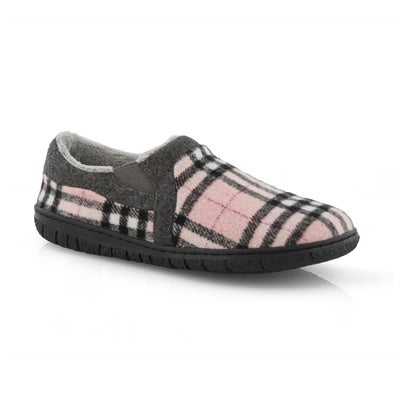 Lds Jackie pnk plaid closed back slipper