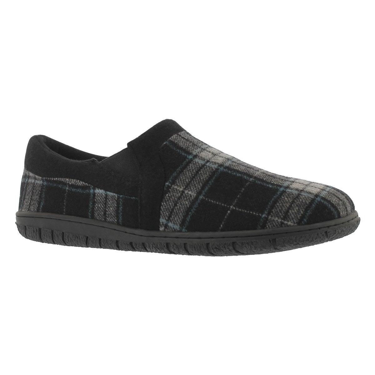 Men's JACOB black plaid memory foam slippers