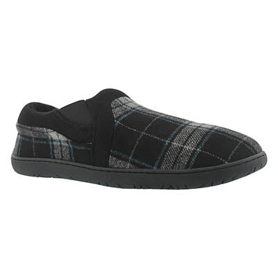 Foamtreads Men's JAMES black plaid closed back slippers