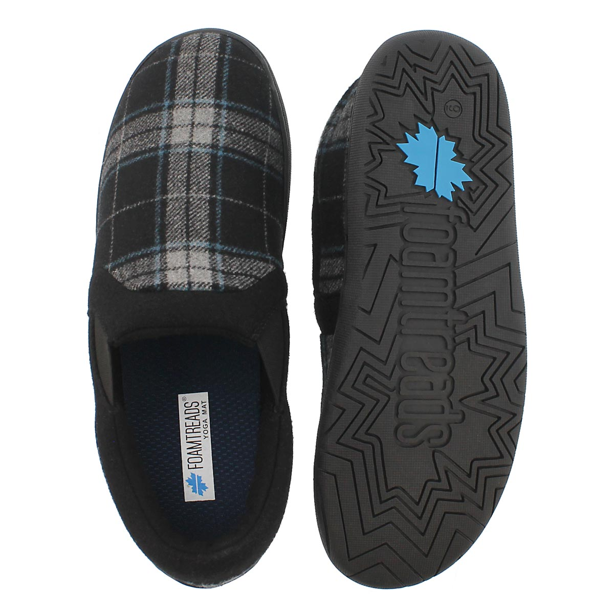 Mns James blk pld closed back slipper