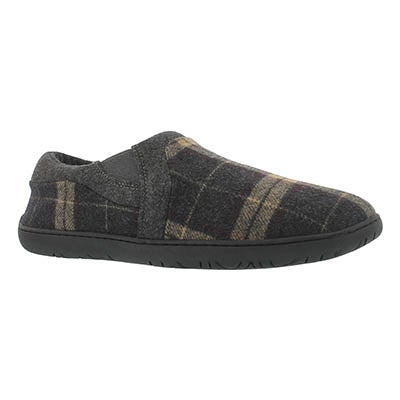 Foamtreads Men's JAMES brown plaid closed back slippers