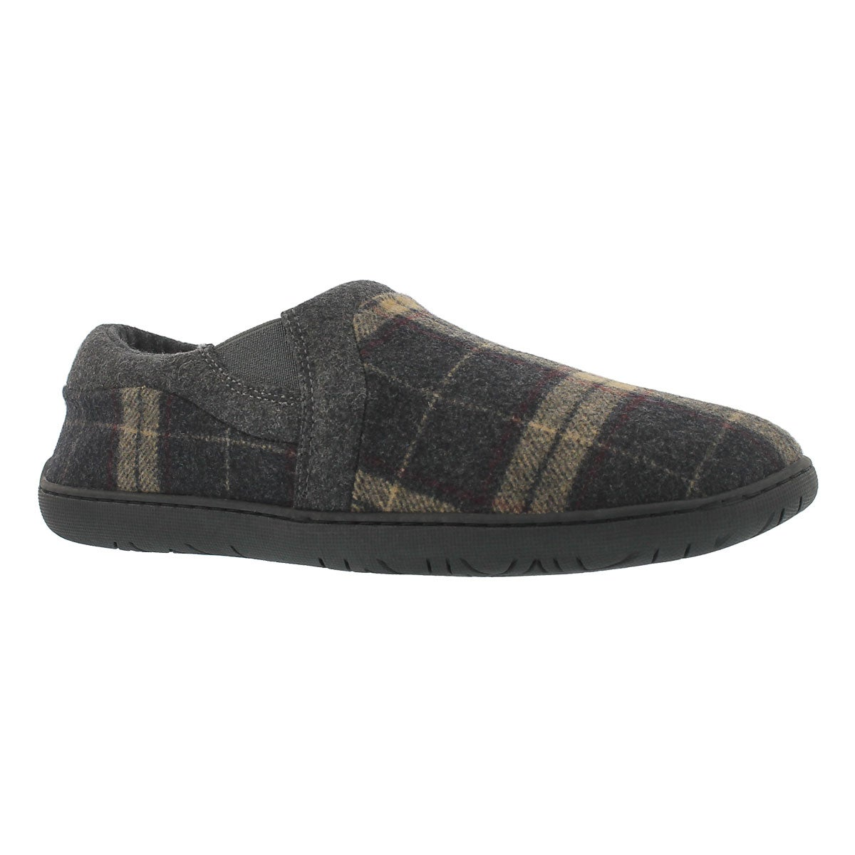 Men's JAMES brown plaid closed back slippers
