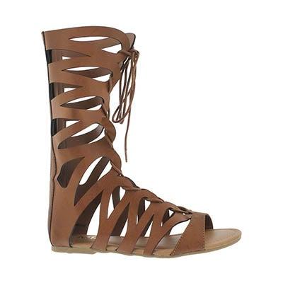 Grls Jane cognac casual gladiator sandal