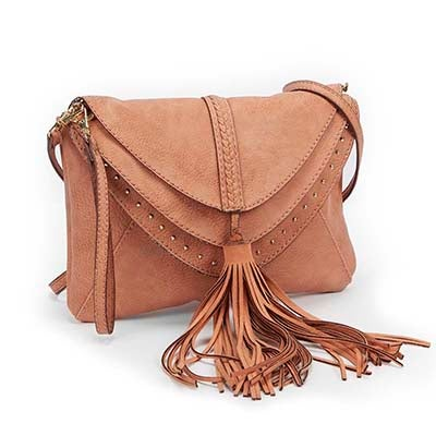Lds JBaylee melon tassel cross body bag