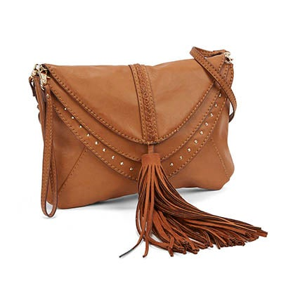 Lds JBaylee tan tassel cross body bag