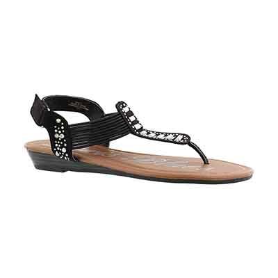 Paris Blues Girls' JEAN black t-strap sandals