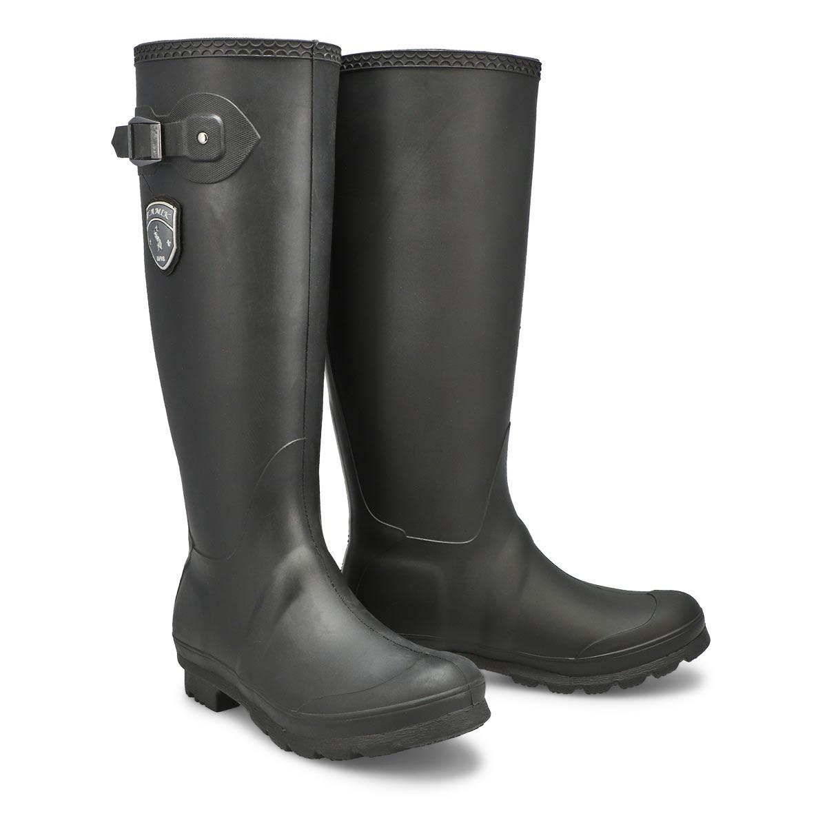 Lds Jennifer blk side buckle rain boot