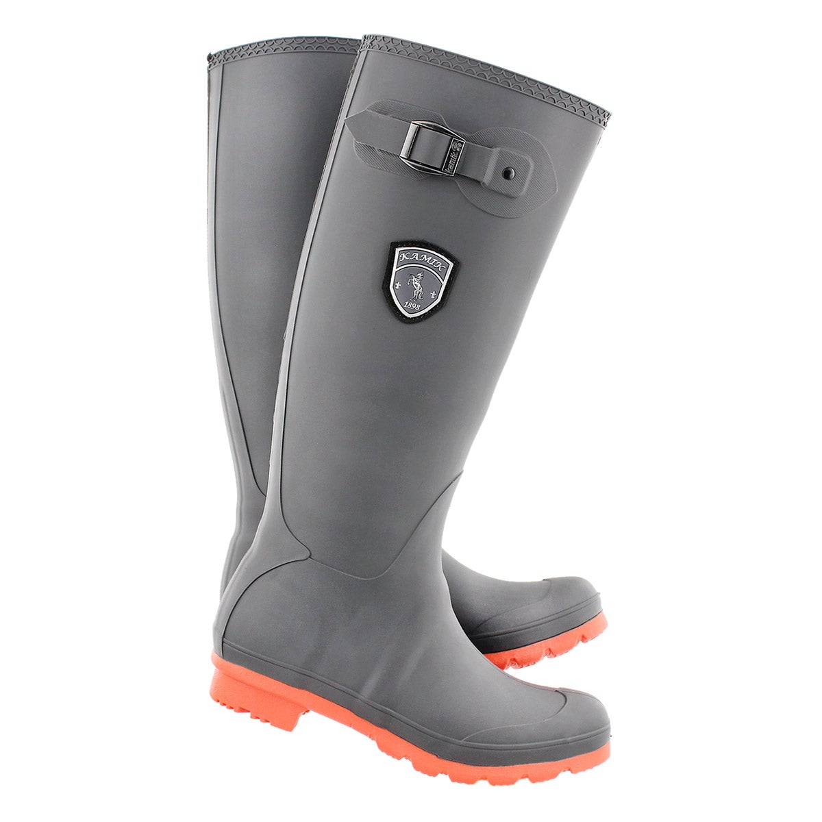 Lds Jennifer charcoal/coral rain boot